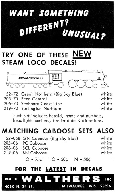Walthers Penn Central Steam Decals